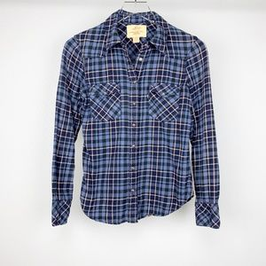 LEVIS Snap Button Down Collared Plaid Top …